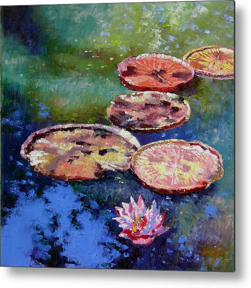 Fall Water Lilies Metal Print featuring the painting Fall Colors On The Pond by John Lautermilch