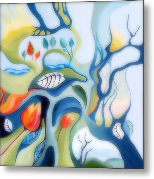 Fantasy Landscape Metal Print featuring the painting Fantasy Landscape by Carola Ann-Margret Forsberg