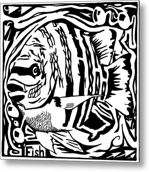 Fish Metal Print featuring the drawing Fish Maze by Yonatan Frimer Maze Artist
