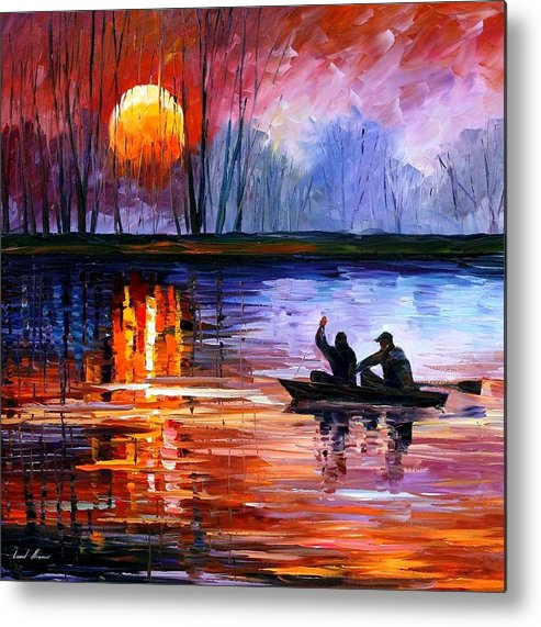 Seascape Metal Print featuring the painting Fishing On The Lake by Leonid Afremov