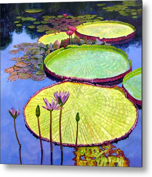Garden Pond Metal Print featuring the painting Floating Galaxies by John Lautermilch
