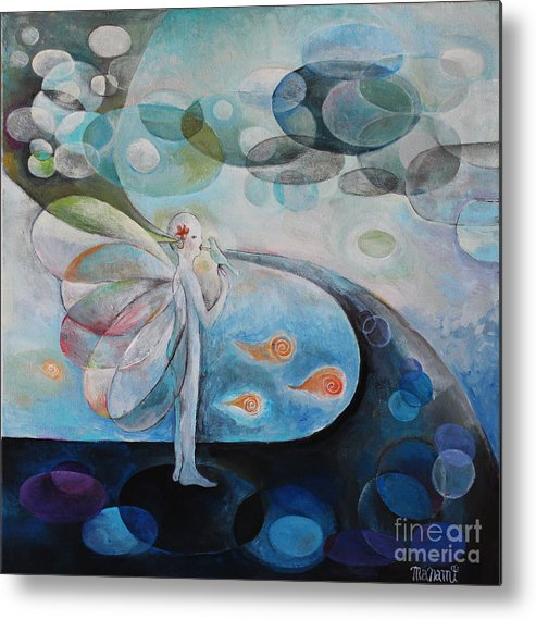 Flow Metal Print featuring the painting Flower Bird by Manami Lingerfelt