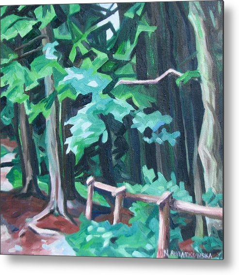 Landscape Metal Print featuring the painting Forest 1 by Nel Kwiatkowska