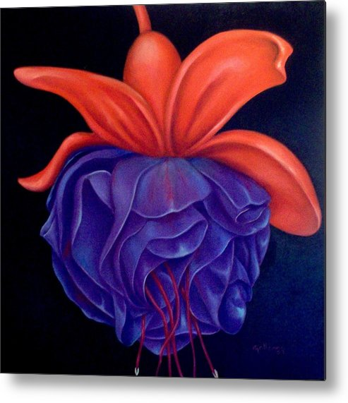 Flowers Metal Print featuring the painting Fussia by Elsa Gallegos