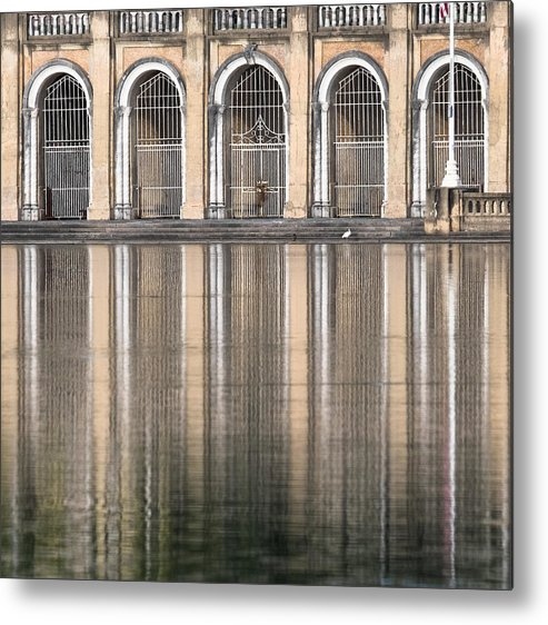 Architecture Metal Print featuring the photograph Gated Reflections by Carl Clay