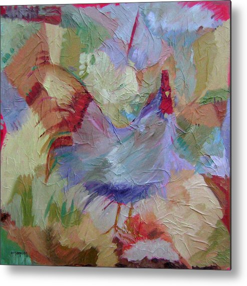 Chicken Paintings Metal Print featuring the painting Good Morning by Ginger Concepcion