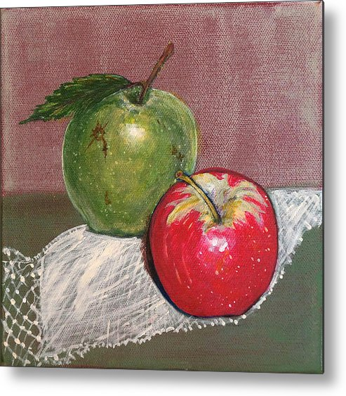 Fruit Metal Print featuring the painting Granny Smith With Pink Lady by Irena Grant-Koch