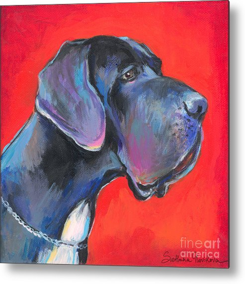 Great Dane Painting Metal Print featuring the painting Great Dane Painting by Svetlana Novikova