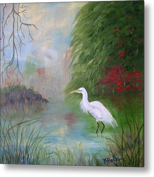 Egret Metal Print featuring the painting Great White Egret by Barbara Harper