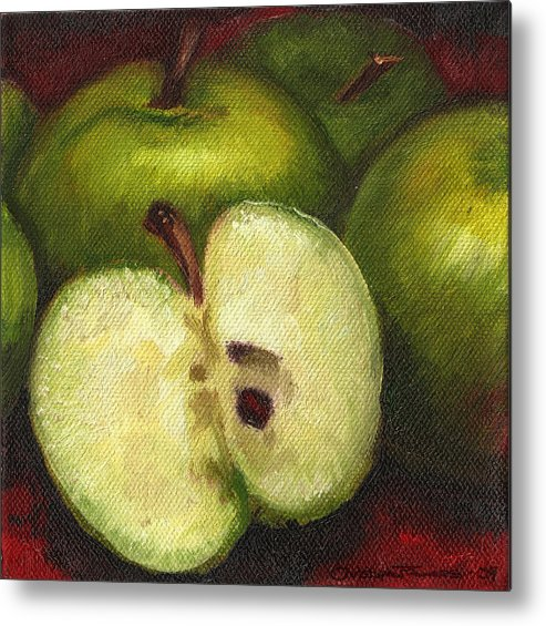 Apples Metal Print featuring the painting Green Apples by Christopher James
