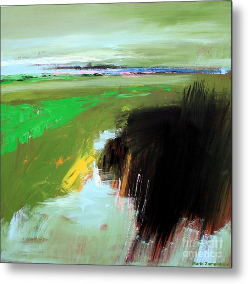 Abstract Landscape Metal Print featuring the painting Green Field by Mario Zampedroni