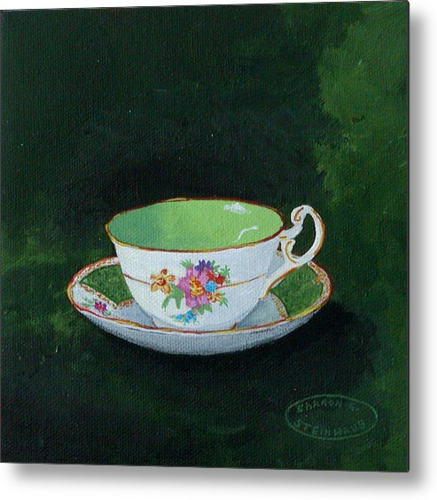 Cup And Saucer China Original Acrylic Painting Metal Print featuring the painting Green Teacup by Sharon Steinhaus