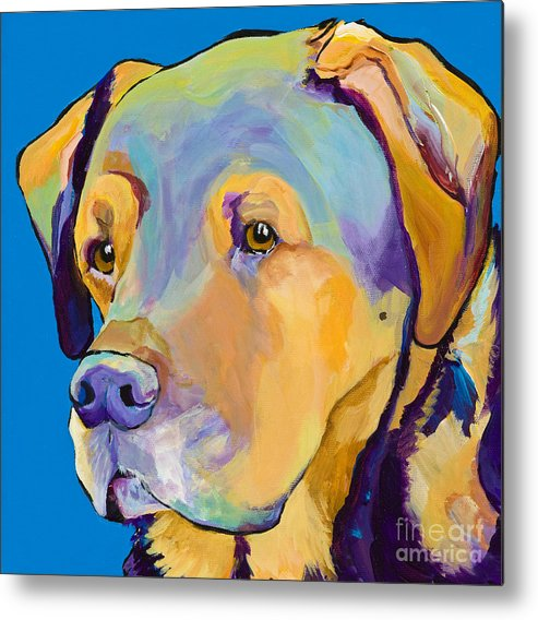 Dog Portrait Metal Print featuring the painting Gunner by Pat Saunders-White