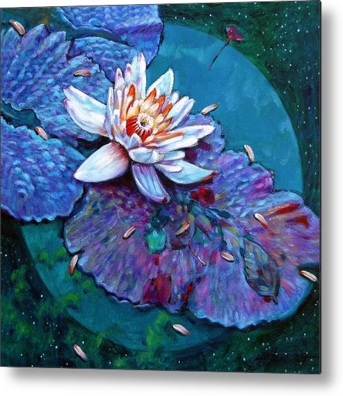 Water Lily Metal Print featuring the painting Harvest Moon by John Lautermilch