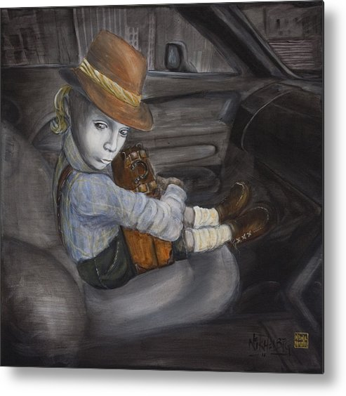 Boy Metal Print featuring the painting Hitchhiker by Nik Helbig