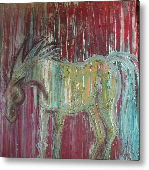 Horse Metal Print featuring the painting Horse In The Rain by Joan Stratton