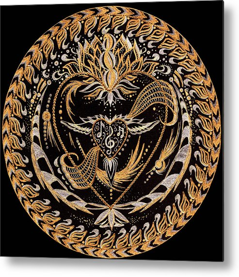 Mandala Metal Print featuring the painting In The Sound by Pam Ellis