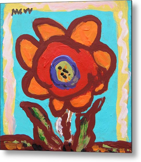Flower Metal Print featuring the painting In The Window View by Mary Carol Williams