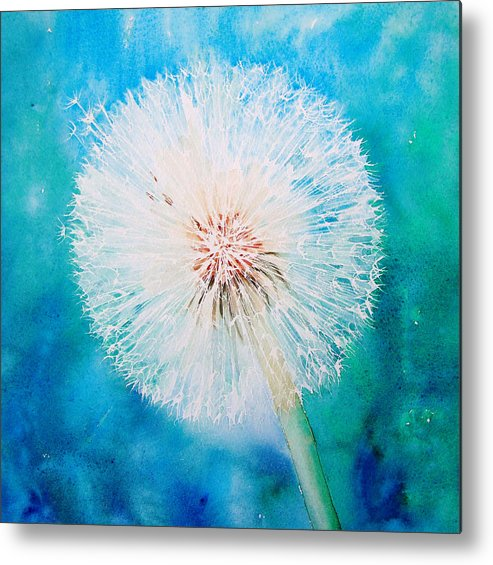 Dandelion Metal Print featuring the painting Jade Dandelion by Ruth Harris