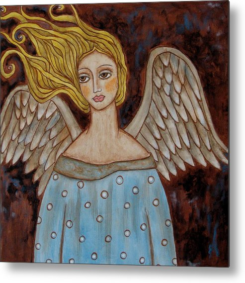 Folk Art Paintings Paintings Metal Print featuring the painting Jophiel by Rain Ririn