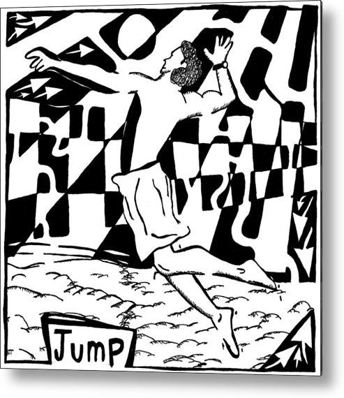 Jump Metal Print featuring the drawing Jump Maze by Yonatan Frimer Maze Artist