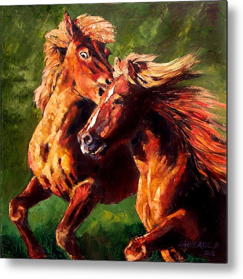 Horses Running Metal Print featuring the painting Kiss On The Run by John Lautermilch