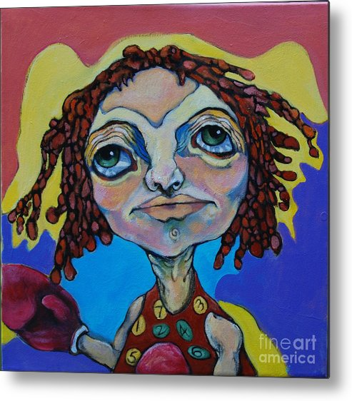 Circle Head Metal Print featuring the painting Knock Out by Michelle Spiziri