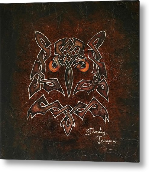 Owl Metal Print featuring the painting Knotty Owl by Sandy Jasper
