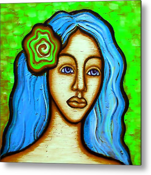 Metal Print featuring the painting Lady With Green Flower by Brenda Higginson