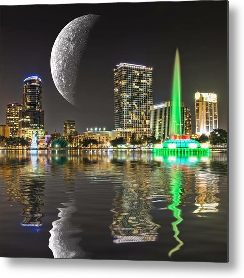 Syfy Metal Print featuring the photograph Lake Eola Moon by Carl Clay