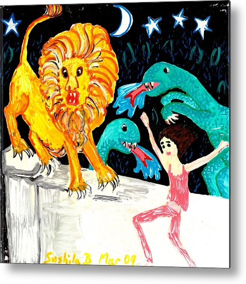 Sue Burgess Metal Print featuring the painting Leap Away From The Lion by Sushila Burgess