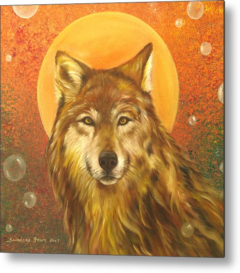 Wolf Metal Print featuring the painting Listening by Sundara Fawn