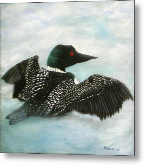 Loon Metal Print featuring the painting Loon by Rebecca Fitchett