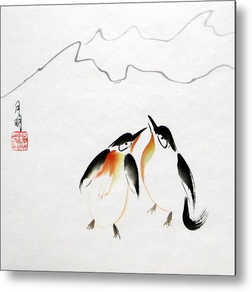 Chinese Painting Metal Print featuring the painting Loving Pair by Ming Yeung