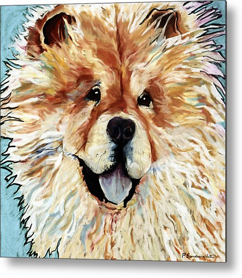 Chow Chow Metal Print featuring the pastel Madame Chu Cho by Pat Saunders-White