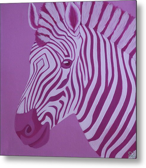 Magenta Zebra Metal Print
