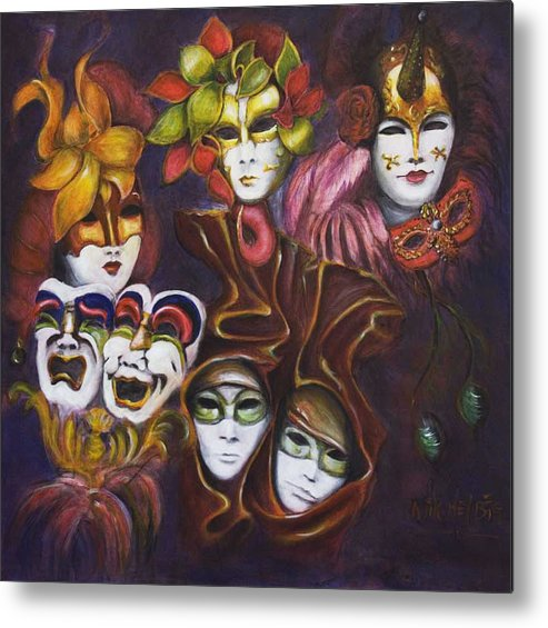 Masks Metal Print featuring the painting Making Faces I by Nik Helbig