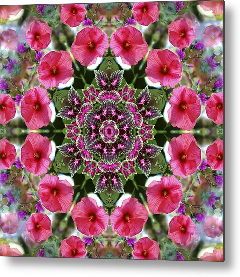 Mandala Metal Print featuring the digital art Mandala Pink Patron by Nancy Griswold