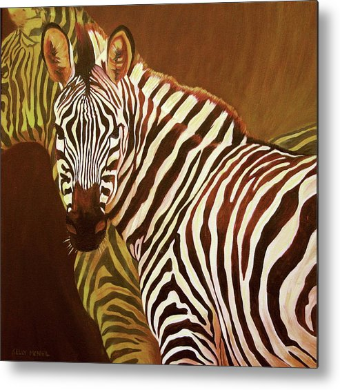 Zebra Metal Print featuring the painting Me And My Friend by Kelly McNeil