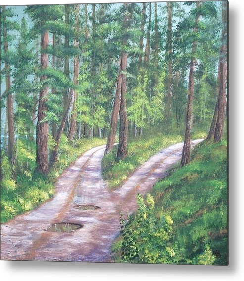 Landscape Forrest Mountain Lake Metal Print featuring the painting Midlife The Fork by W Wayne Mosbarger
