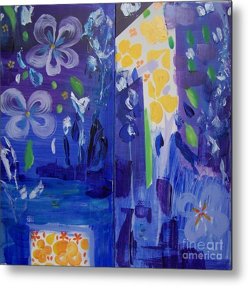 Blue Flowers Metal Print featuring the painting Midnight Blue by Geraldine Liquidano