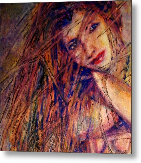 Woman Metal Print featuring the painting Misty - Watercolor by Donna Hanna
