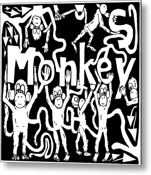 Monkey Metal Print featuring the drawing Monkeys Maze For M by Yonatan Frimer Maze Artist