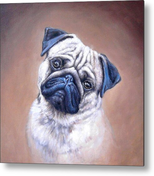 Mops Metal Print featuring the painting Mops by Zoltan Simon