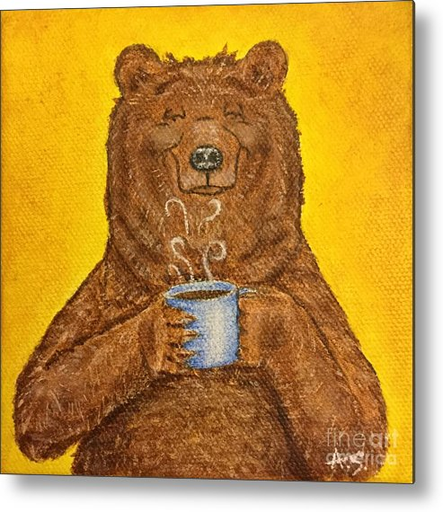 Grizzly Metal Print featuring the painting Morning Coffee by Amelia Schimetz