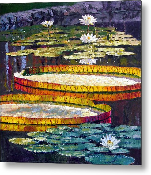Water Lilies Metal Print featuring the painting Morning Glow by John Lautermilch