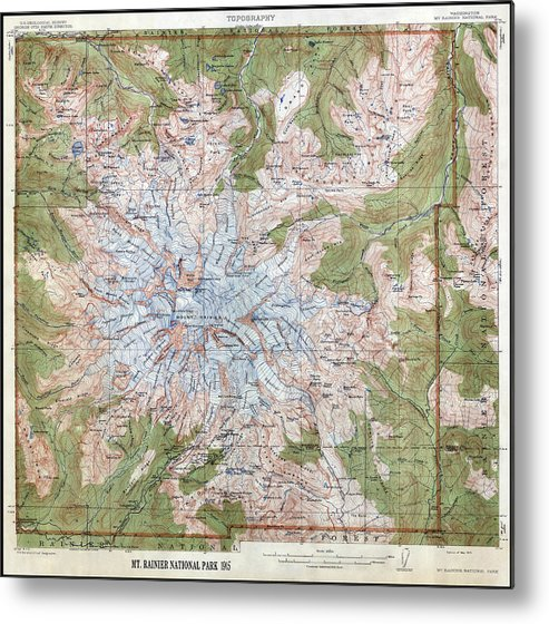 Mt Rainier Topographic Map.Mt Rainier Topographic Map 1915 Metal Print By Daniel Hagerman