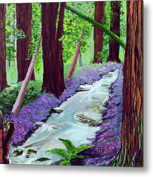 Muir Metal Print featuring the painting Muir Woods - Psalm 1 Verse 3 by Charles and Stacey Matthews