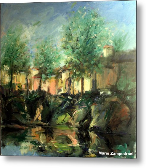 Old Houses Metal Print featuring the painting Old Houses by Mario Zampedroni