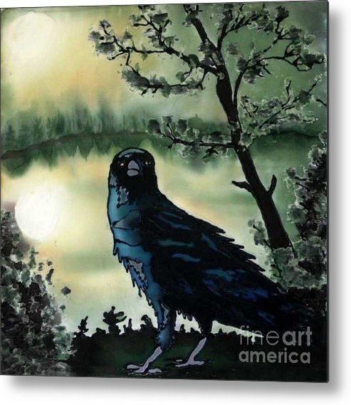 Raven Metal Print featuring the painting Omen Of Change by Linda Marcille